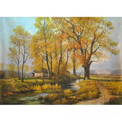 秋天的柳树油画