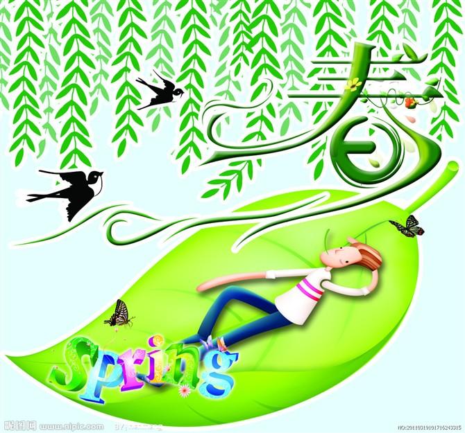 柳树燕子儿童画