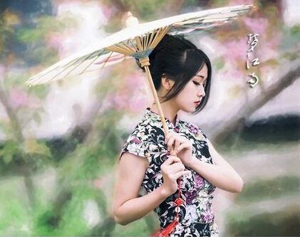 旗袍少女背影手绘