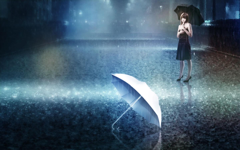 雨中撑伞的气质女生图片集,想为你遮风挡雨