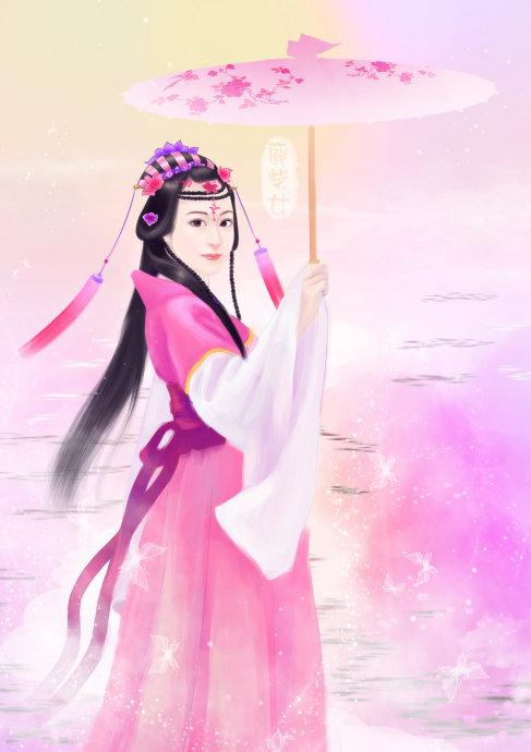 粉色油纸伞图片 手绘