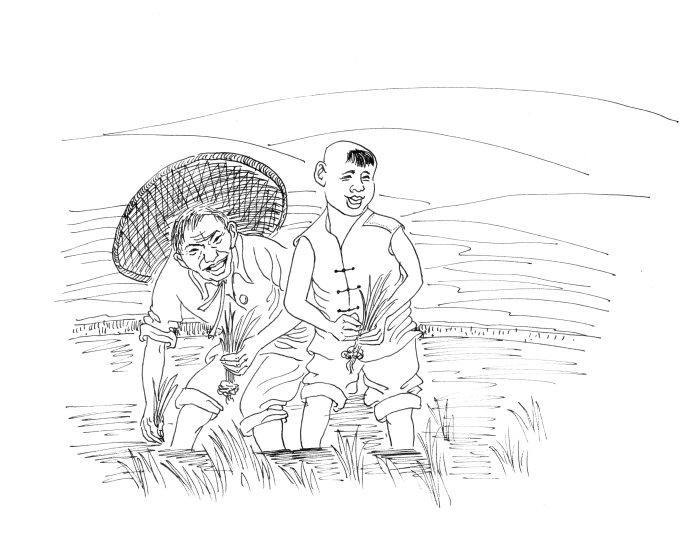 找夏季里农忙手绘图画