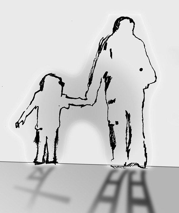 母亲牵手背影手绘