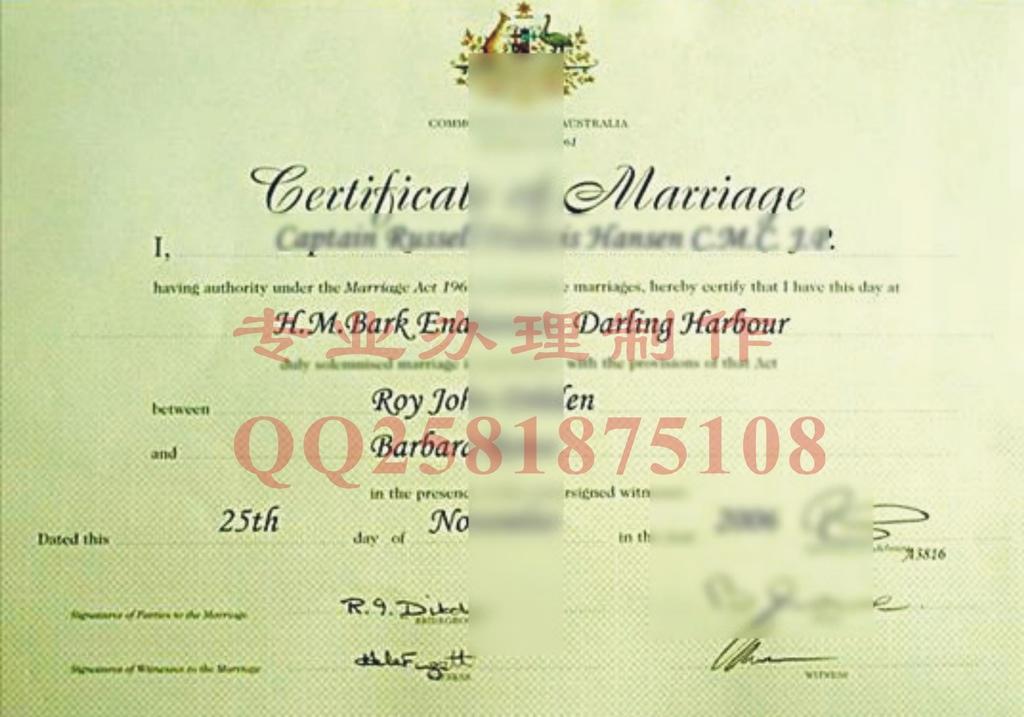 澳大利亚结婚证样本图片